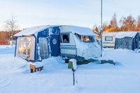 Snowy Winter camping with trailer