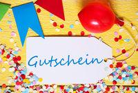 Party Label, Red Balloon, Gutschein Means Voucher