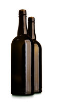 Two empty wine bottle of dark glass