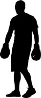 Black silhouette of an athlete boxer on a white background