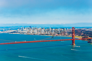 Aerial View San Francisco Golden Gate Bridge High