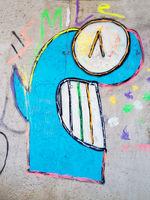 Gesicht Fratze Graffiti an der Wand
