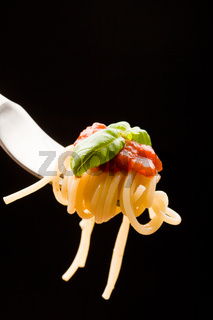 Spaghetti with Tomatoe Sauce and basil wrapped on fork
