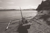 Wooden fishing pirogue on the beach in  Sumbava
