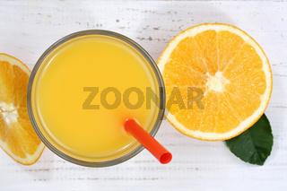 Orangensaft Orangen Saft Orange Fruchtsaft von oben Frucht Früchte