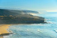 Seashore landscape at sunset. Portugal