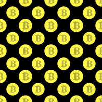 Golden Bitcoin Seamless Pattern. Crypto Currency Mining Texture with Coins