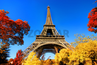 Eiffel Tower in autumn park