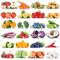 Obst und Gemüse Früchte Sammlung Apfel Tomaten Orange Weintrauben Salat frische Freisteller freigestellt isoliert