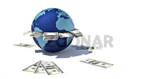 Earth with 100 dollars bills
