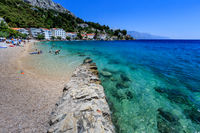 Deep Blue Sea with Transparent Water and Beautiful Adriatic Beach in Croatia