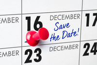 Wall calendar with a red pin - December 16