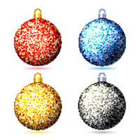 Set of colored sparkling glitter Christmas balls .