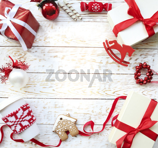 Christmas background with decorations and candles