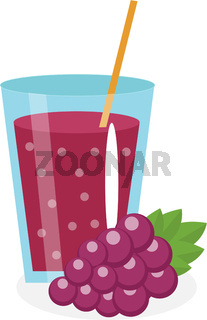 Grape juice in a glass. Fresh   isolated on white background.  fruit and  icon. Blue  drink,  compote. Grapes cocktail smoothie. Vector illustration
