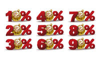 Set of percent discount sale icons