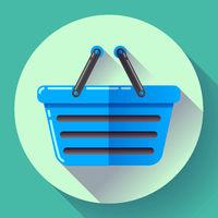 Vector shopping basket icon. Flat design style.