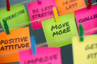 notes concept for motivation for move more to stay healthy or lose weight