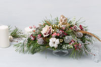 Decorative Christmas bouquet with candles