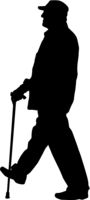 Silhouette of disabled people on a white background