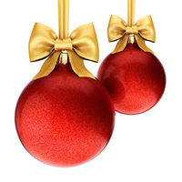 3D rendering red Christmas balls with gold ribbon and bow