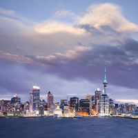 New Zealand Auckland Skyline Twilight Dramatic Sky