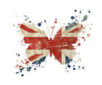 Butterfly shaped old grunge UK Great Britain flag