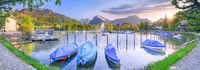 Boats docked on the shores of Lake Walensee