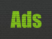 Advertising concept: Ads on wall background