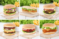 Hamburger Sammlung Collage Cheeseburger und Pommes Frites Fleisch Käse Tomaten Salat