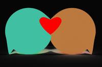 Two speech bubbles form heart, 3d Illustration