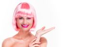 Girl in pink wig