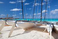 Catamarans on the empty beach, Cuba