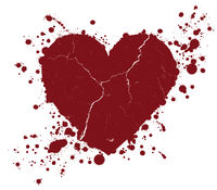 Grunge heart shape and paint blobs splattered