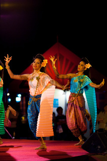 Two Thai Female Dancers Traditional Clothes Stage