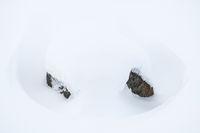 schneebdeckter Felsen, Lappland