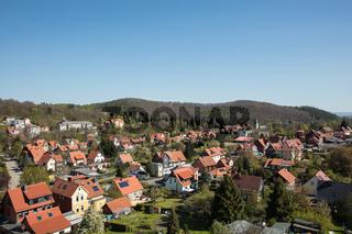 Viele Häuser mit rotem Dach in Wernigerode