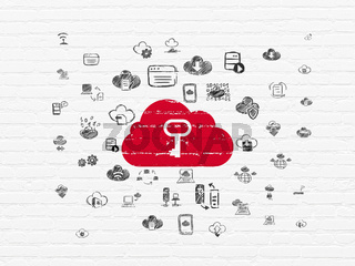 Cloud computing concept: Cloud With Key on wall background
