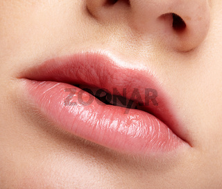Closeup macro portrait of female part of face. Human woman lips with day beauty makeup. Girl with perfect chubby lips shape