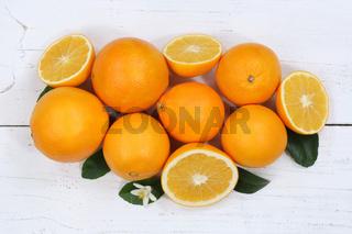 Orangen Orange Früchte von oben