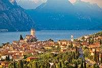 Town of Malcesine on Lago di Garda historic skyline view