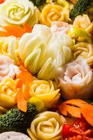 Carved vegetables for baking