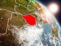 Zimbabwe from space during sunrise