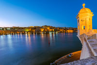 Guardiola Gardens tower and view over Valletta,Malta