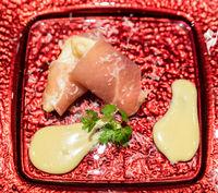 pear tempura parma ham