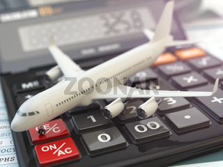 Travel cost calculation concept. Airplane and calculator. Cheapest flight.