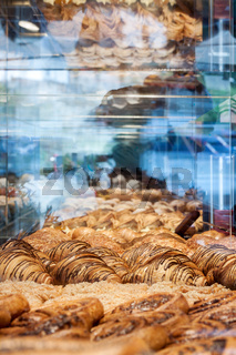 Pastries on glass window