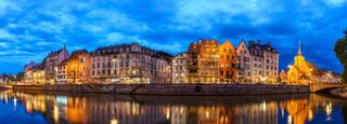 Strasbourg panorama night city skyline, Strasbourg, France