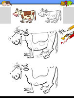 drawing and coloring activity with milker cow