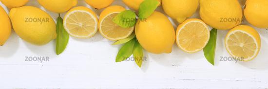 Zitrone Zitronen Früchte Banner Textfreiraum von oben